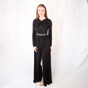 LITTLE MISTRESS Black Long Sleeve Gown NWT 0241